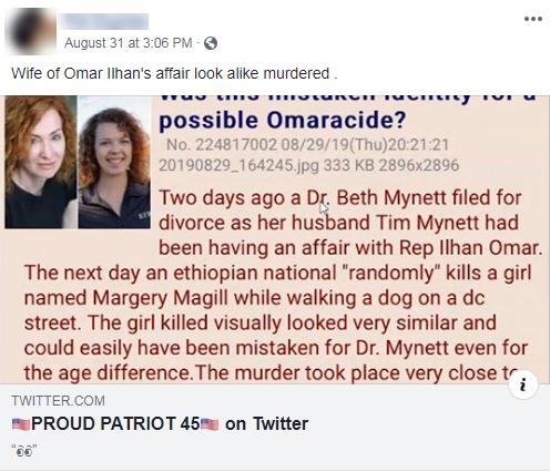 Facebook Omar conspiracy theory