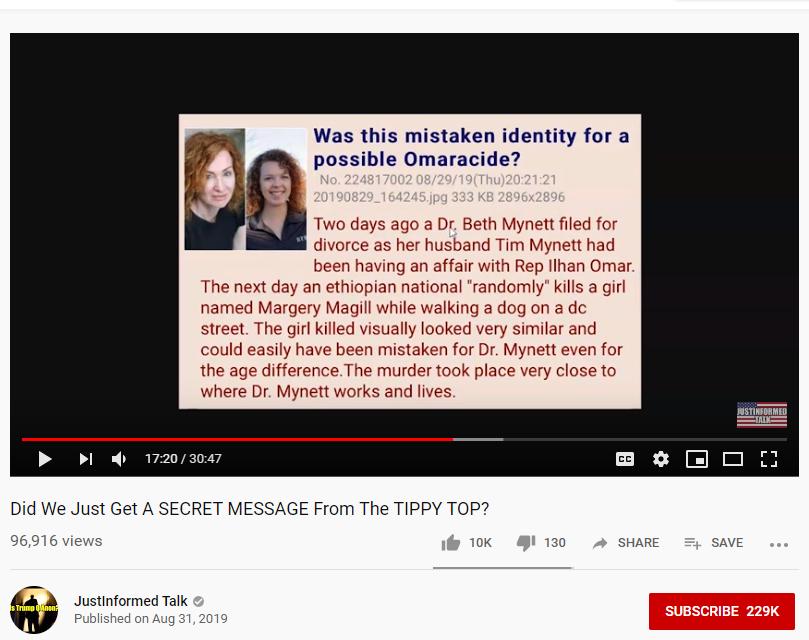 QAnon YouTube channel Omar conspiracy theory 4chan post