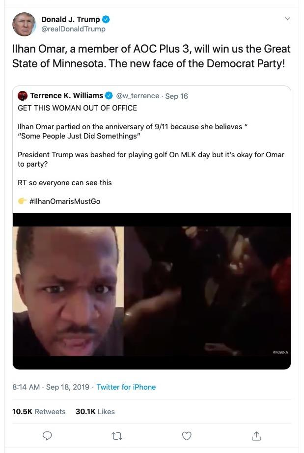 Trump tweet of Terrence K. Williams video - 09-18-2019