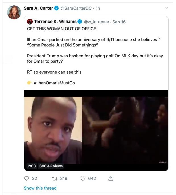 Fox contributor Sara Carter's tweet of Terrence K. Williams video - 09-18-2019
