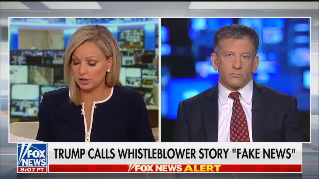 "Fox News chyron: Trump calls whistleblower story ""fake news"""