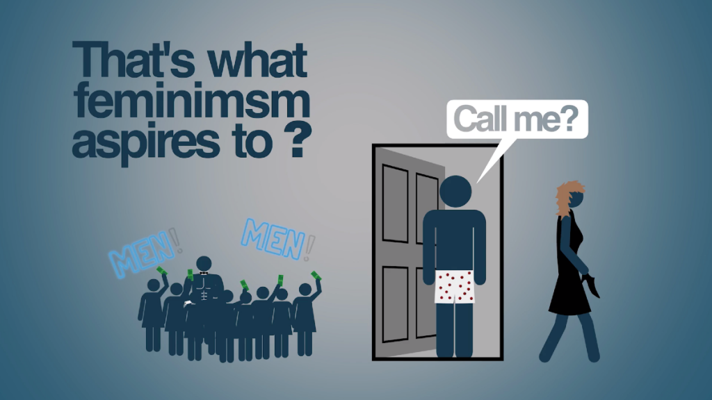 """That's what feminimsm aspires to?"" with a woman walking away from a door as a man says ""Call me?"""