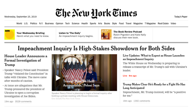"The New York Times: ""Impeachment Inquiry Is High-Stakes Showdown for Both Sides"""