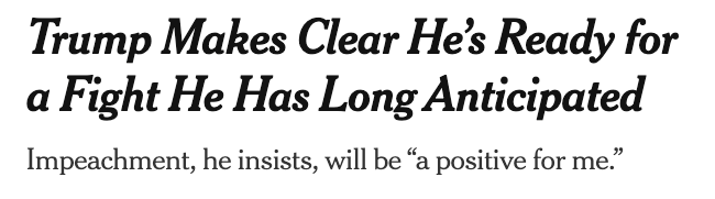 "The New York Times: ""Trump Makes Clear He's Ready for a Fight He Has Long Anticipated"""