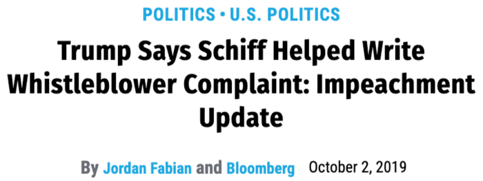 "Fortune: ""Trump Says Schiff Helped Write Whistleblower Complaint: Impeachment Update"""