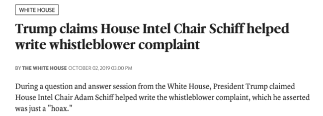 "McClatchy: ""Trump claims House Intel Chair Schiff helped write whistleblower complaint"""