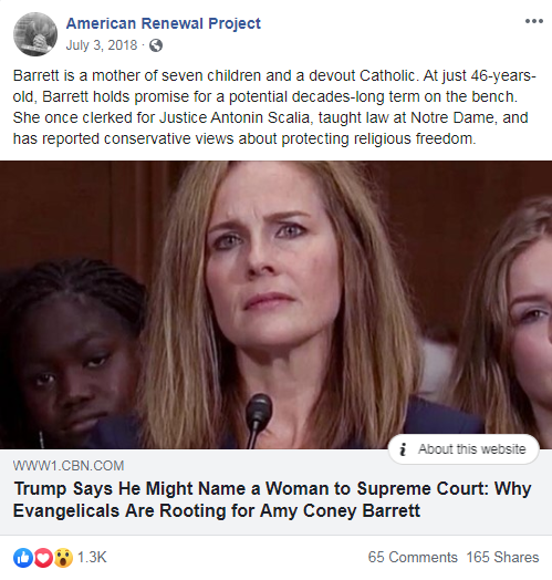 American Renewal Project's Facebook post from July 3, 2018 that links to a CBN News article about Amy Coney Barrett
