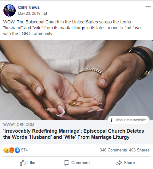 CBN News' Facebook post from May 23, 2018 that links to a CBN News article about the Episcopal Church's LGBTQ-inclusive policies
