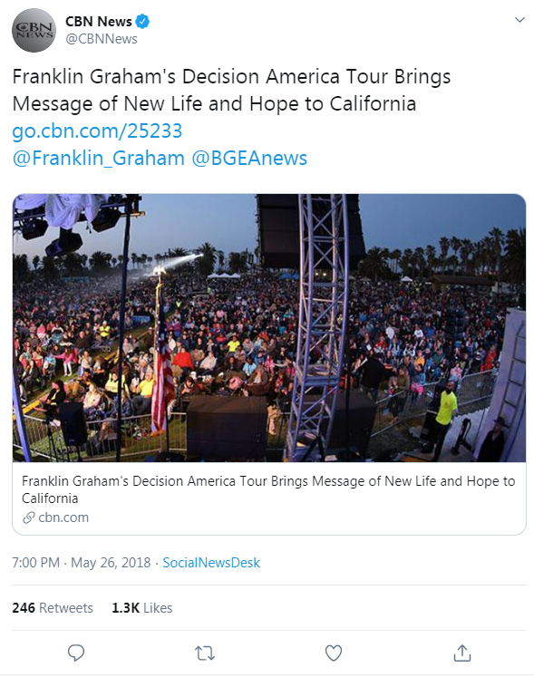 CBN News' tweet from May 26, 2018 that links to a CBN News article about Franklin Graham