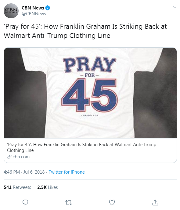 CBN News' tweet from July 6, 2018 that links to a CBN News article about Franklin Graham