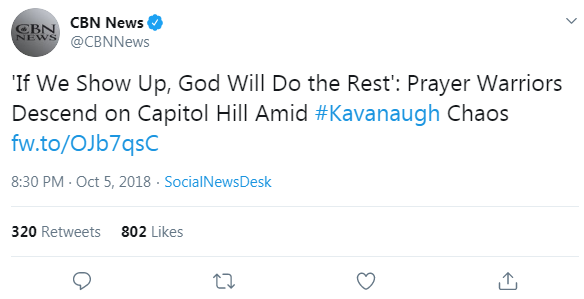 CBN News' tweet from October 5, 2018 that links to a CBN News article about praying for Kavanaugh