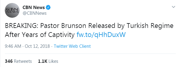 CBN News' tweet from October 12, 2018 that links to a CBN News article about Pastor Brunson