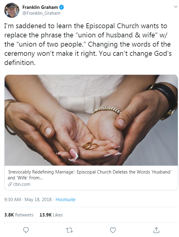 Franklin Graham's tweet from May 18, 2018 that links to a CBN News article about the Episcopal Church's LGBTQ-inclusive policies