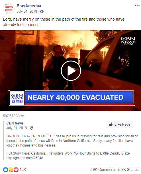 PrayAmerica's Facebook post from July 13, 2018 that links to a CBN News article asking for prayers in the wake of the California wildfires