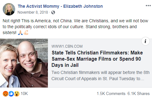The Activist Mommy's Facebook post from November 8, 2018 that links to a CBN News article about a Christian business that wants to discriminate against LGBTQ people