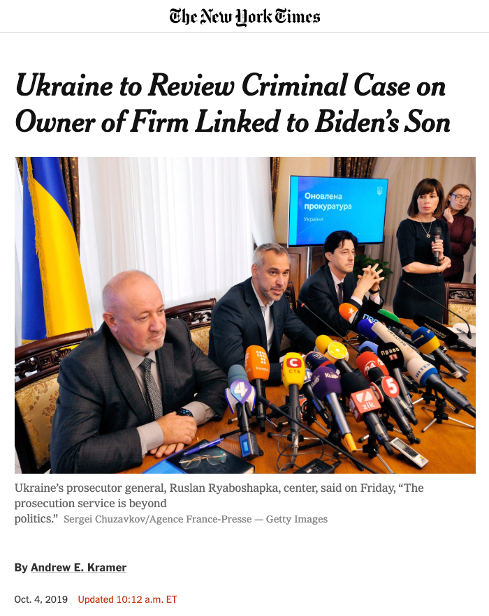 """The New York Times: """"Ukraine to Review Criminal Case on Owner of Firm Linked to Biden's Son"""""""
