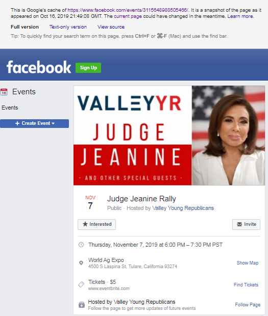 Jeanine Pirro event page image from Google cache