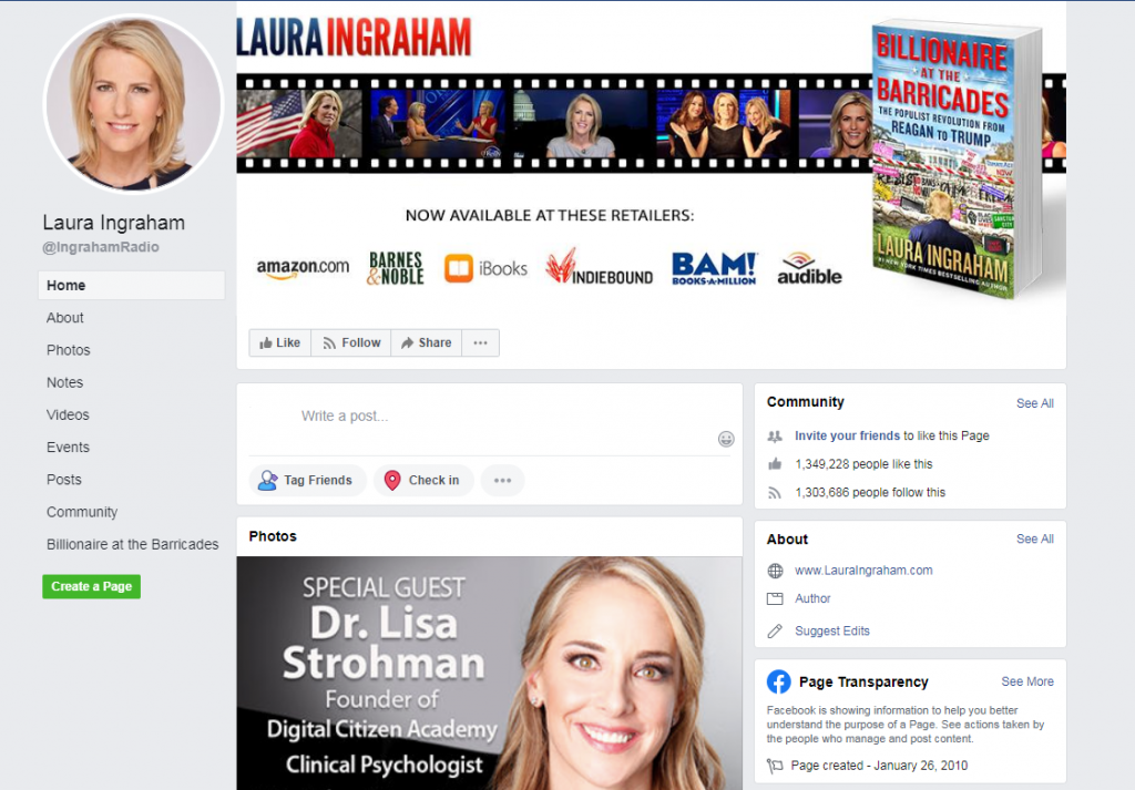 Image of Laura Ingraham's Facebook page