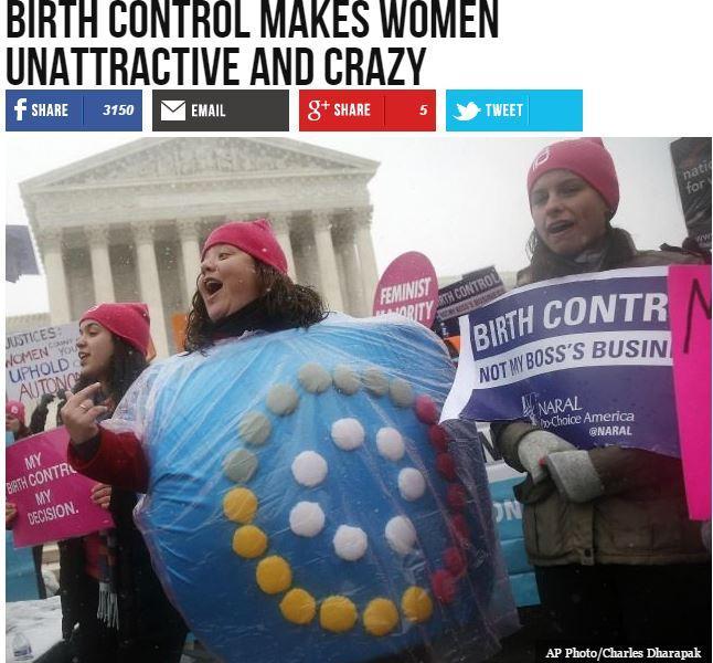 """Breitbart headline: """"Birth Control Makes Women Unattractive and Crazy"""""""