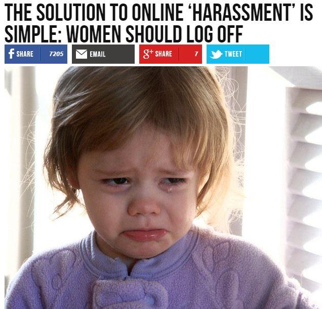 "Breitbart headline: ""The solution to online 'harassment' is simple: women should log off"""