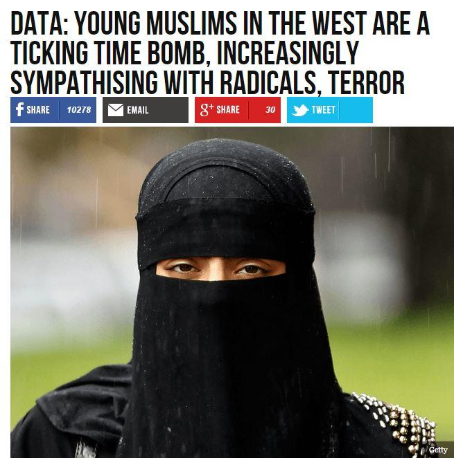 "Breitbart headline: ""Data: Young Muslims in the West are a ticking time bomb, increasing sympathizing with radicals, terror"""