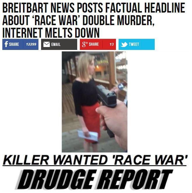 """Breitbart headline: """"Breitbart News posts factual headline about 'race war' double murder, internet melts down"""