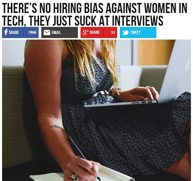 "Breitbart headline: ""There's no hiring bias against women in tech. They just suck at interviews"""