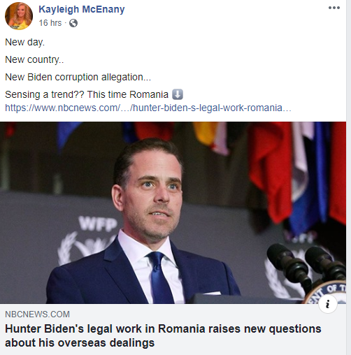 RNC's Kayleigh McEnany sharing a NBC News post about Hunter Biden