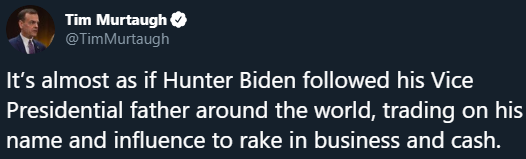 Trump 2020's Tim Murtaugh sharing a NBC News post about Hunter Biden