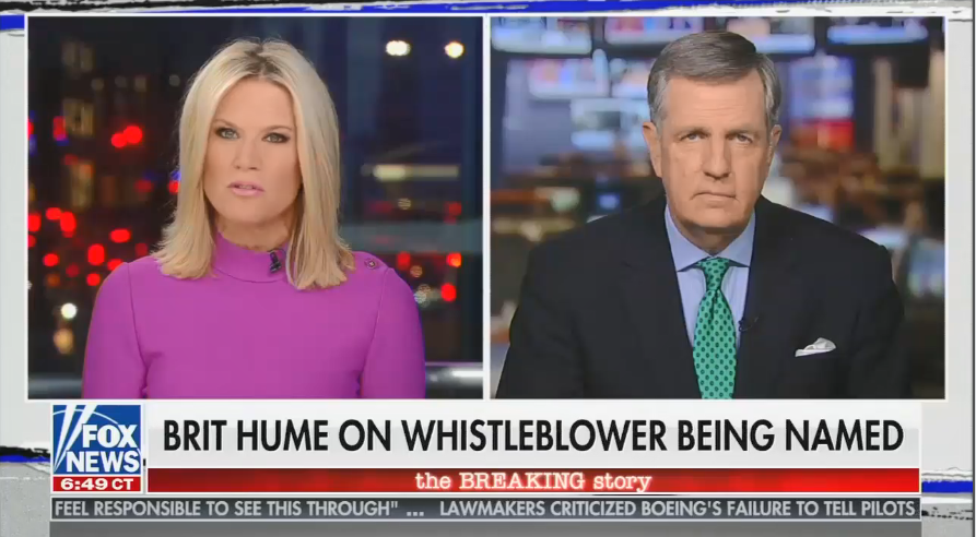 Brit Hume and Martha MacCallum push a conspiracy theory on the whistleblower being named