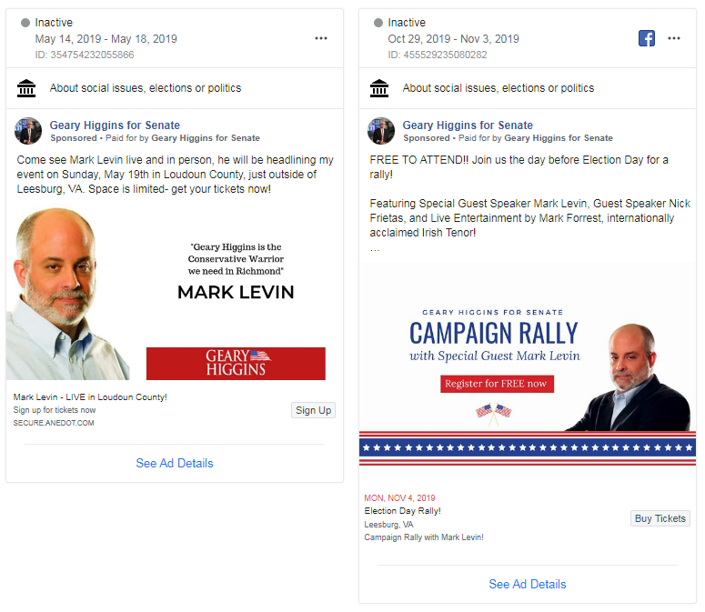 Mark Levin campaign rallies ads on Facebook