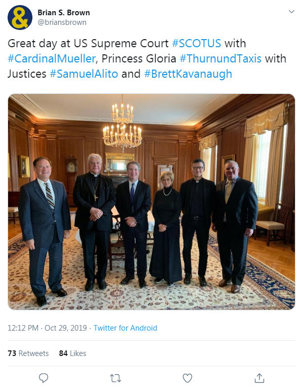 Image of Brian Brown's tweet of a picture of him with Justice Alito and Kavanaugh