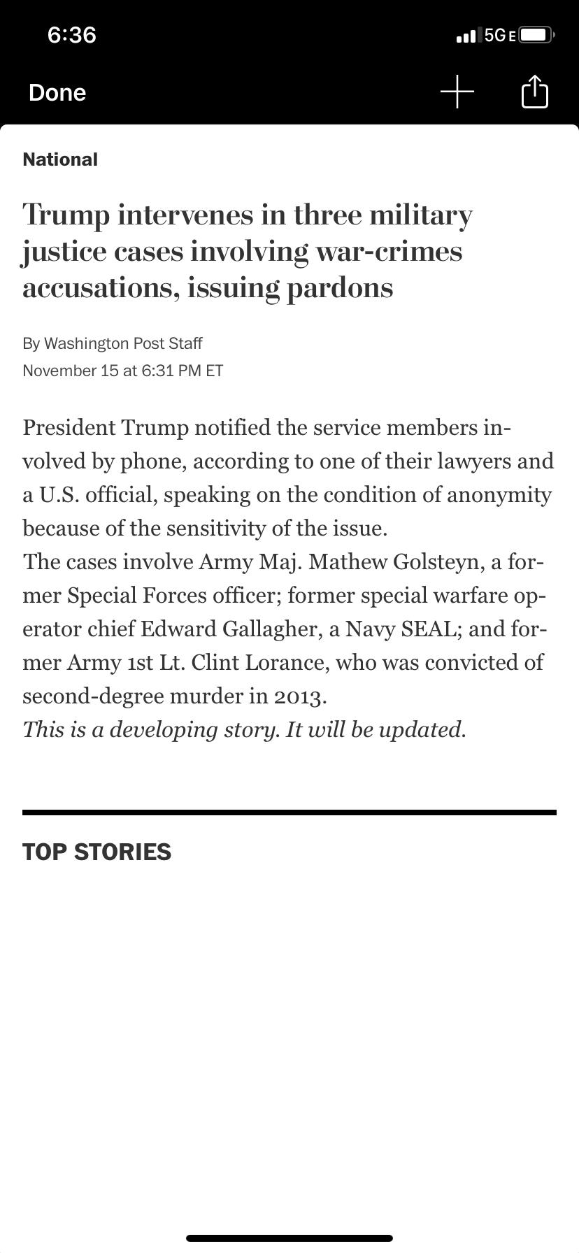 wapo reporting pardons