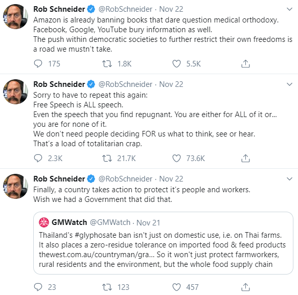 "A screenshot of Rob Schneider's Twitter page, showing the ""free speech"" tweet Fox highlighted in the middle of two anti-vax tweets"