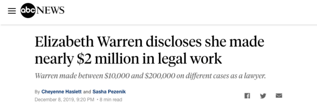 """Elizabeth Warren discloses she made nearly $2 million in legal work"""