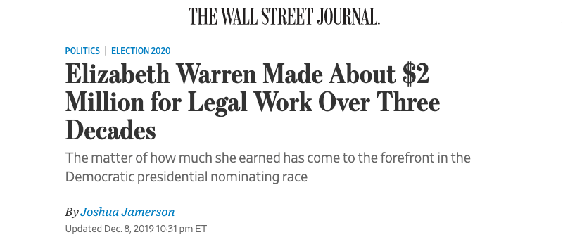 """Elizabeth Warren Made About $2 Million for Legal Work Over Three Decades"""
