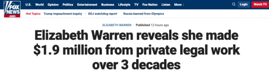 """Elizabeth Warren reveals she made $1.9 million from private legal work over 3 decades"""