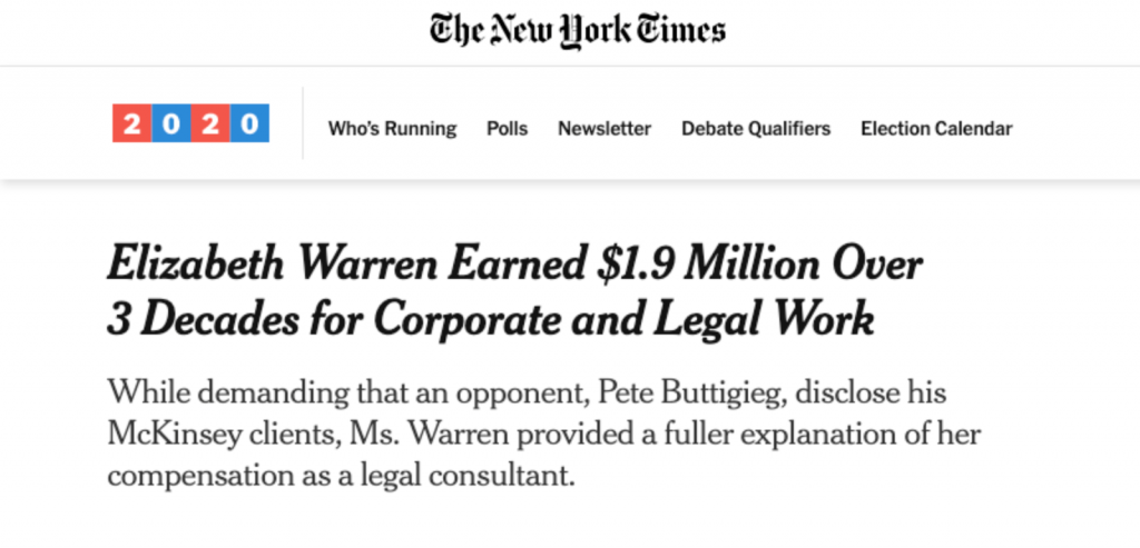 """Elizabeth Warren Earned $1.9 Million Over 3 Decades for Corporate and Legal Work"""