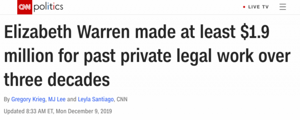 """Elizabeth Warren made at least $1.9 million for past private legal work over three decades"""