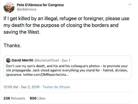 "Pete D'Abrosca says ""If I get killed by an illegal, refugee, or foreigner, please use my death for the purpose of closing the borders and saving the West."""