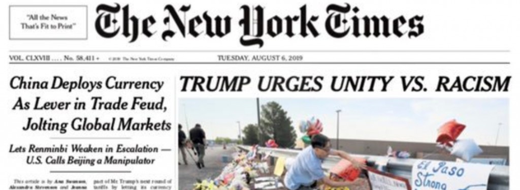 "The New York Times: ""Trump Urges Unity Vs. Racism"""