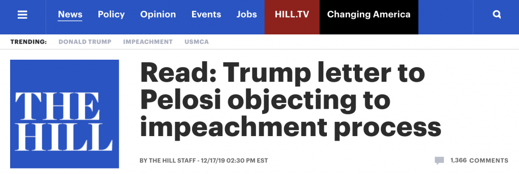 "The Hill: ""Read: Trump letter to Pelosi objecting to impeachment process"""