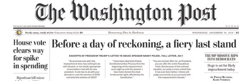 "The Washington Post: ""Before a day of reckoning, a fiery last stand"""