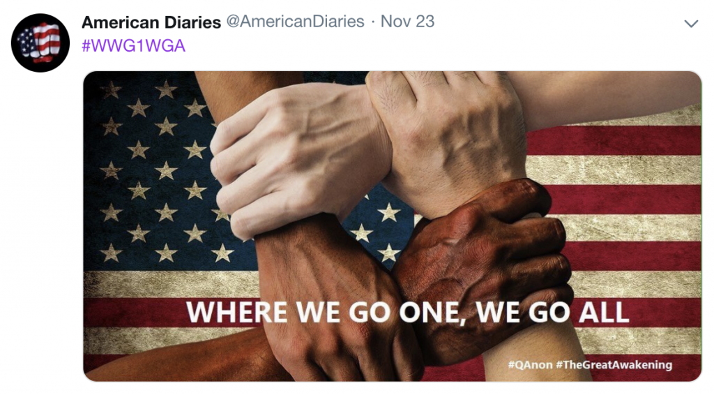 "A QAnon meme featuring the slogan ""where we go one, we go all."""