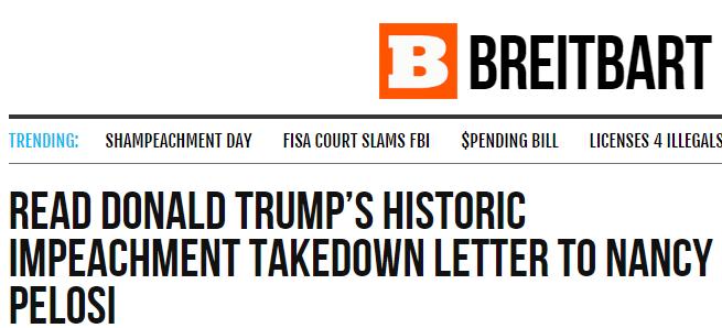 "Breitbart.com praises Trump's impeachment letter as ""historic"""