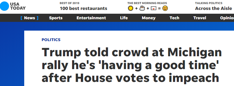 USA Today headline on Trump's rally