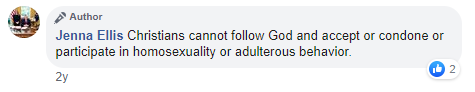 "Ellis FB comment: ""Christians cannot follow God and accept or condone or participate in homosexuality"""