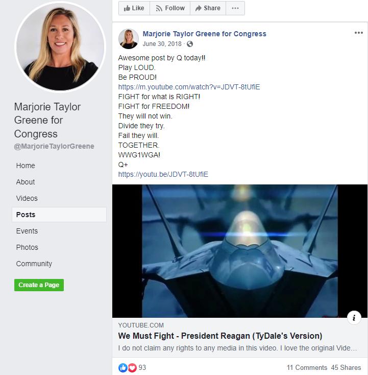 Marjorie Taylor Greene Facebook QAnon2
