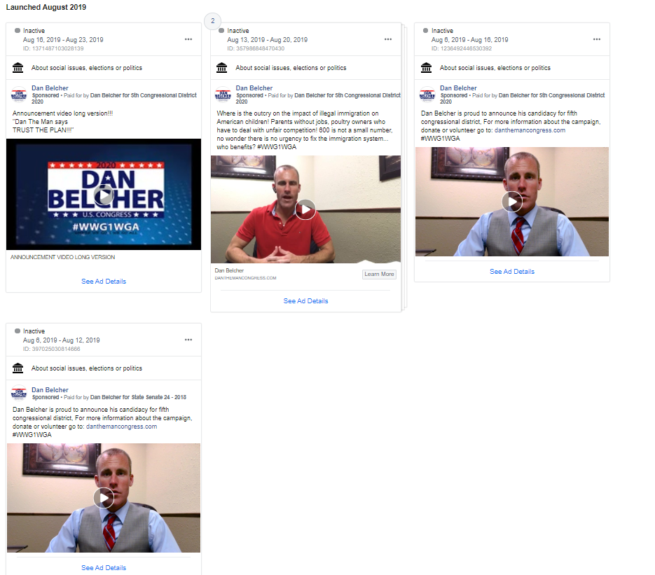 Dan Belcher QAnon Facebook ads1