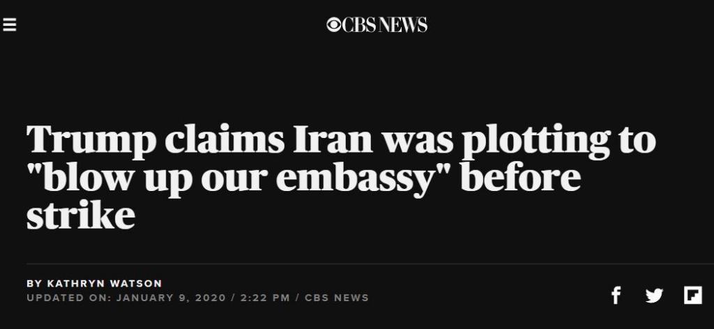 CBS Soleimani Trump embassy
